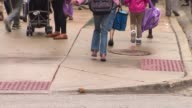 Elementary school students with backpacks walk to school with parents in Chicago Most people unidentifiable anonymous and no faces