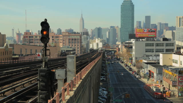 Elevated #7 subway line in Brooklyn looking towards Manhattan on sunny fall day.