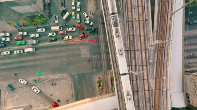 Elevated train and Railroad Track from above