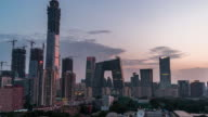 T/L WS HA TU Elevated View of Beijing Skyline, Day to Night Transition/ Beijing, China