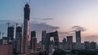 T/L WS HA ZO Elevated View of Beijing Skyline, Day to Night Transition/ Beijing, China