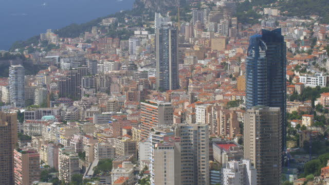 Elevated view of densely packed apartment blocks in central Monaco