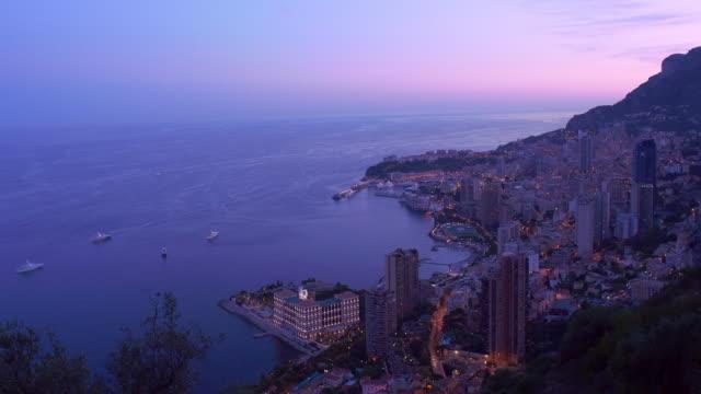 Elevated view of Monaco.Evening. 4K.