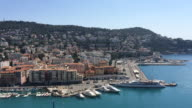 Elevated view of old Harbor in Nice, France