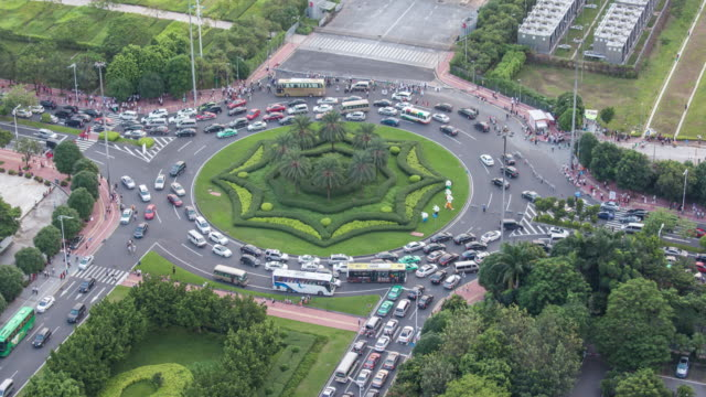 T/L WS Elevated View of Roundabout  Congestion/ Guangzhou, China