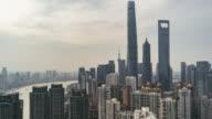 T/L TU Elevated View of Shanghai Skyline / Shanghai, China