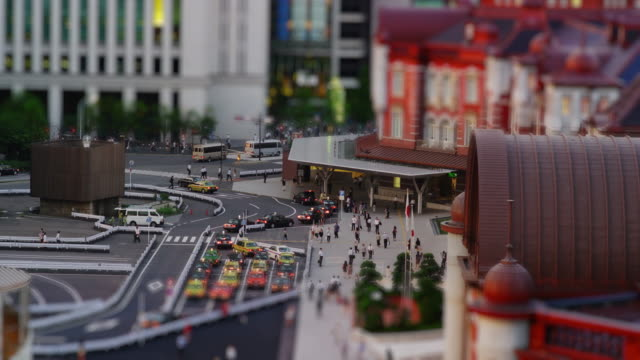Elevated View of the newly Renovated Tokyo Marunouchi Station in Tilt Shift Miniature Looks, Time lapse