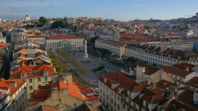Elevated view of the Pedro IV Square (Rossio), Lisbon, Portugal