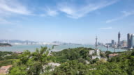 T/L ZO Elevated View of Xiamen Panorama, China