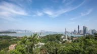 T/L WS Elevated View of Xiamen Panorama, China
