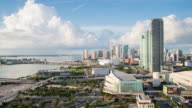 Elevated view over Biscayne Boulevard and the skyline of Miami, Florida, USA - Time lapse
