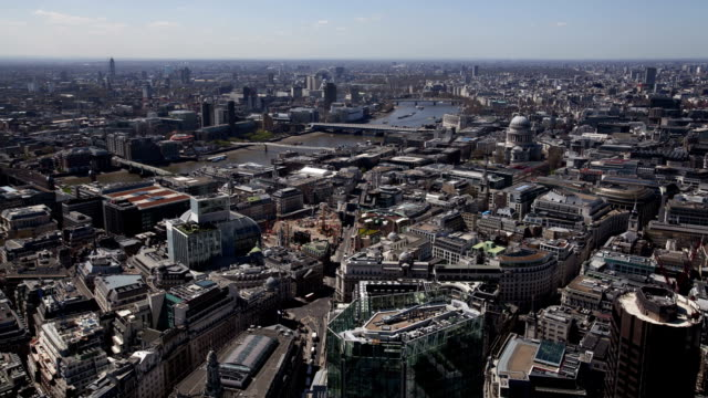Elevated wide view on central London, time lapse