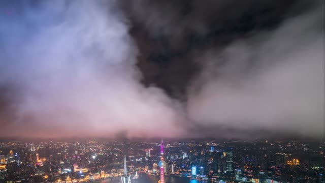 T/L WS TD elevatet view of Shanghai city with dramatic cloudy sky