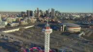WS PAN AERIAL Elitch Gardens amusement park, Pepsi Center, and downtown Denver / Denver, Colorado, USA