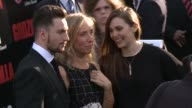 Elizabeth Olsen Sam TaylorWood and Aaron TaylorJohnson at the 'Godzilla' Los Angeles Premiere at Dolby Theatre on May 08 2014 in Hollywood California