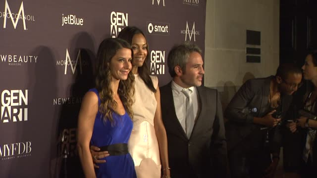 Elizabeth Shaffer Zoe Saldana Jeffrey Abramson at the Gen Art Fresh Faces In Fashion Presented By Moroccanoil at Los Angeles CA