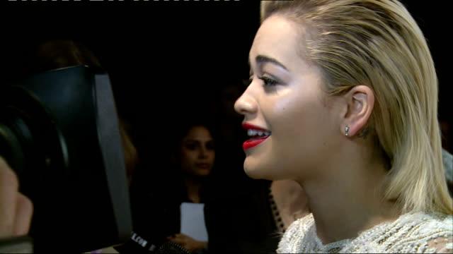 Red carpet arrivals / winners' room Rita Ora interview SOT / Barbara Palvin speaking to press / Jourdan Dunn interview SOT / Tom Ford interview and...