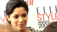 Arrivals and interviews Freida Pinto speaking to press PHOTOGRAPHY**** Anna Friel posing for photocall