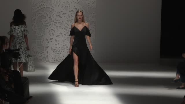 Elsa Hosk Martha Hunt and their fellow models walk the runway for the Blumarine Ready to Wear Spring Summer 2018 Fashion Show in Milan Saturday...