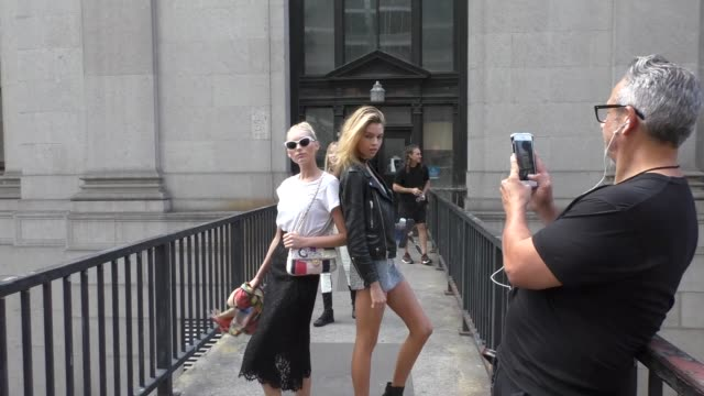 Elsa Hosk Stella Maxwell outside the Jeremy Scott Fashion Show at The Arc Skylight at Moynihan Station in New York in Celebrity Sightings in New York