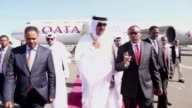 Emir of Qatar Tamim bin Hamad Al Thani is welcomed by Ethiopian Prime Minister Hailemariam Desalegn in Addis Ababa Ethiopia on April 10 2017