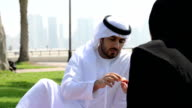 Emirati couple having a picnic