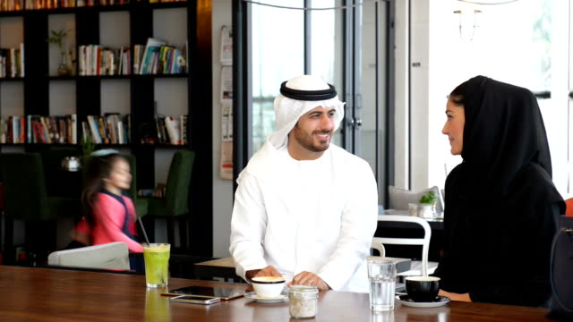 Emirati family at cafe