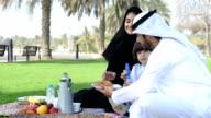 PANNING: Emirati family having a picnic