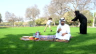 Emirati family having fun at picnic