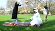 Emirati family having fun at picnic