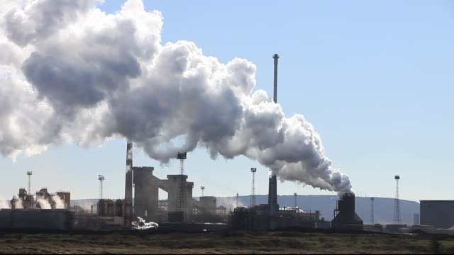 Emissions from the steel plant at Redcar on Teeside, UK.