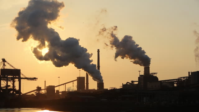 Emissions from the Tata steel works in Ijmuiden near Amsterdam, Netherlands