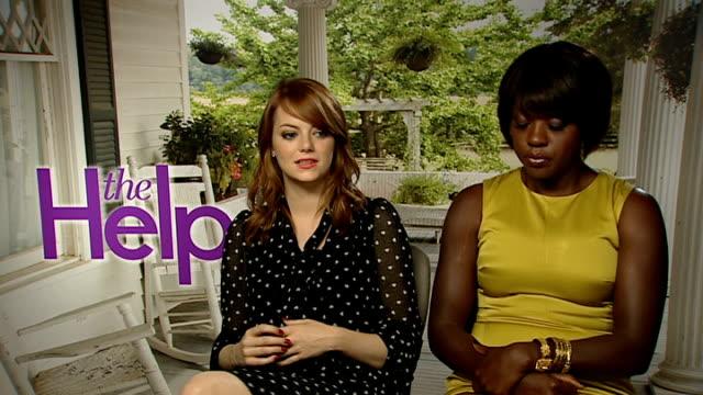 Emma Stone and Viola Davis star in new film 'The Help' ENGLAND London INT Emma Stone and Viola Davis interviews SOT On their new film 'The Help'