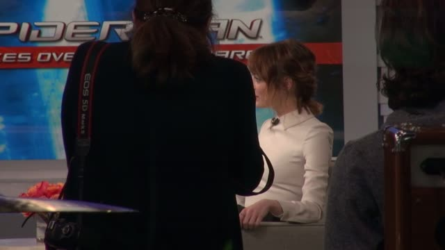 Emma Stone being interviewed on the set of the Good Morning America show in Celebrity Sightings in New York