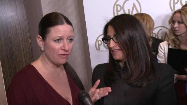 INTERVIEW Emma Tillinger Koskoff on the event at 25th Annual Producers Guild Awards at The Beverly Hilton Hotel on in Beverly Hills California