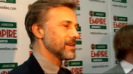 Empire Film Awards in London Christoph Waltz interview SOT Not getting bored of the awards yet Waltz talking to other press SOT Vaughan and Goldman...