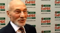 Empire Film Awards in London Patrick Stewart interview SOT On winning theatre award with Ian McKellen / On how he starred in Coronation Street way...