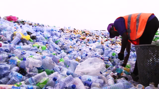 Employee sorts empty bottles and containers at recycling center
