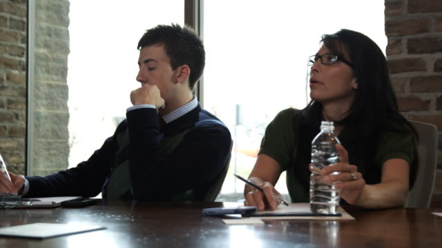 employees at a meeting