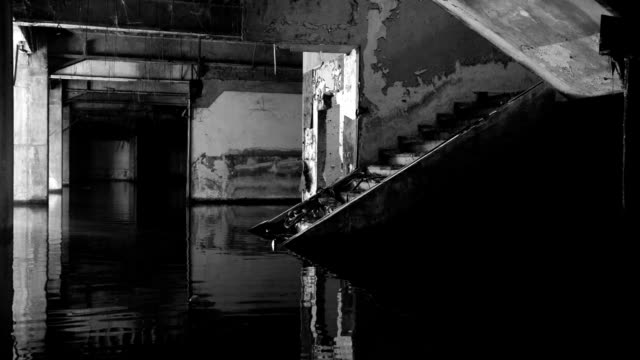 Empty Abandoned Flooded Building Interior