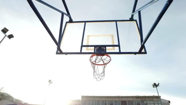 Empty basketball court.