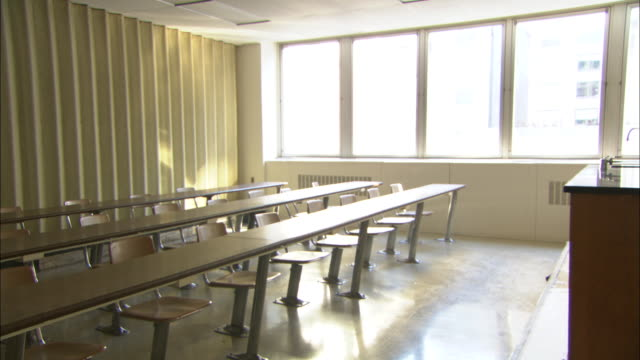 WS DS ZO Empty classroom, Brooklyn, New York City, USA
