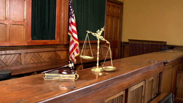 Empty Court bench with gavel - Two Shots(USA Flag)