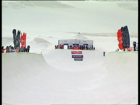 Empty half pipe track 2004 Freestyle FIS World Cup SaasFee Valais Switzerland