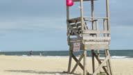 Empty lifeguard stand on beach
