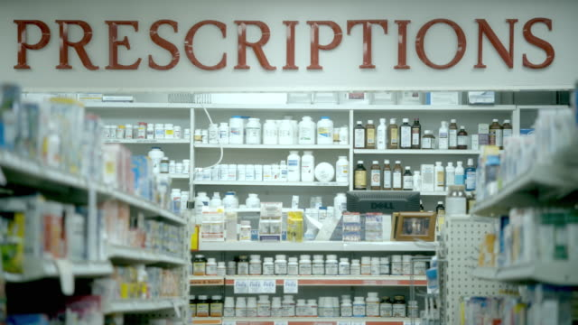MS, Empty medicine aisle with prescriptions area in background, Scotch Plains, New Jersey, USA