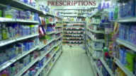WS, Empty medicine aisle with prescriptions area in background, Scotch Plains, New Jersey, USA
