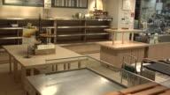 Empty shelfs at Johan Bakery Shop in Shinjuku Sanchome