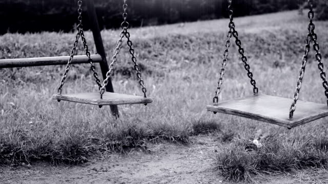 Empty swing swaying