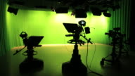 Empty TV studio with lights